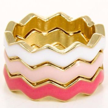 *Colorful Tri-Stacked Chevron Designed Rings