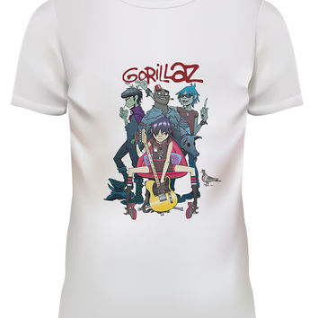 Unisex Gorillaz Alertnative Pop Punk Rock White T Shirt Size S M L XL