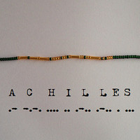 Achilles Morse Code Bracelet - Dark Green and Gold/Silver