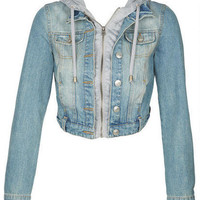 Medium Wash Hooded Denim Jacket
