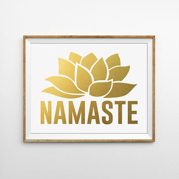 Namaste Faux Gold Foil Typography Art Print. Lotus Flower. Yoga Poster. Word Art. Modern Home Decor. Chic Wall Art.