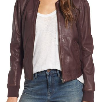 Hinge Shrunken Leather Bomber Jacket | Nordstrom