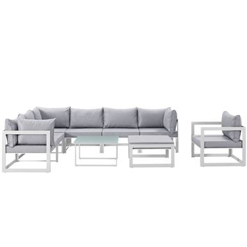 Fortuna 9 Piece Outdoor Patio Sectional Sofa Set