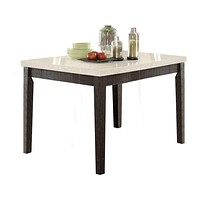 Wooden Counter Height Table With Marble Top, White and Black