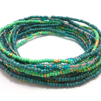 Seed bead wrap stretch bracelets, stacking, beaded, boho anklet, bohemian, stretchy stackable multi strand, green blue dark teal gold copper