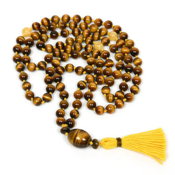 Tigers Eye Mala, Hand Knotted Gemstone Necklace, 108 Prayer Beads