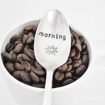 Morning Sunshine - Hand Stamped Vintage teaspoon for Coffee & Tea Lovers