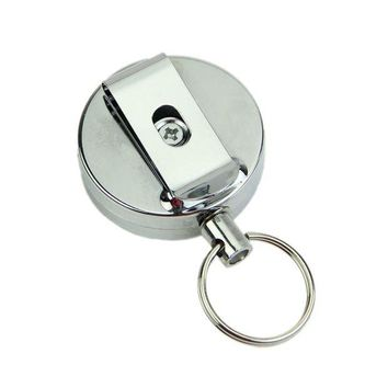 DCCKL6D Retractable Metal Card Badge Holder Steel Recoil Ring Pull Belt Clip Key Chain Silver