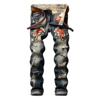 Men's Fashion Embroidery Jeans