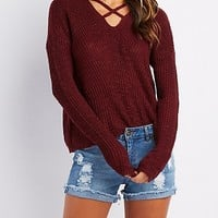 Caged Shaker Stitch Sweater