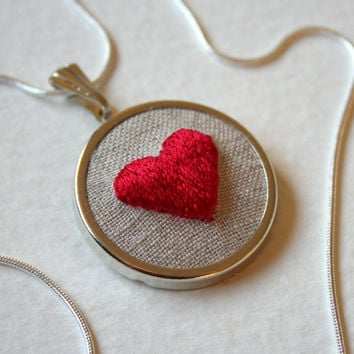 Hand Embroidered Red Heart Necklace Hand Stitched