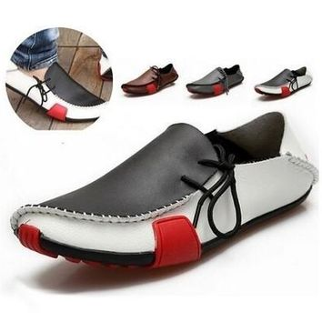 Summer&Autumn Fashion Mens Casual Genuine Leather Flats Driving Moccasins Slip On Men Boat Shoes