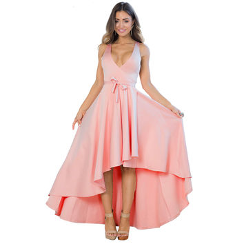 Pink Plunge Long Back Maxi Dress