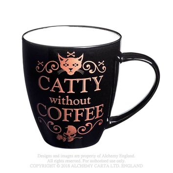 Alchemy Gothic Kitty Catty Without Coffee Mug Skull w/ Rose
