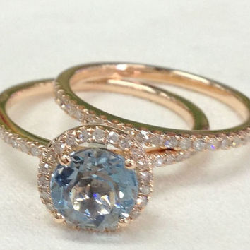 Diamond Wedding Ring Set!Aquamarine Engagement Ring 14K Rose Gold!7mm Round Cut Blue Aquamarine,Wedding Bridal Ring,Halo,Prongs,Stackable