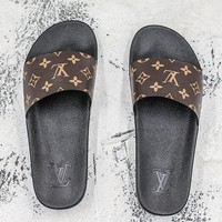 Louis Vuitton Waterfront Mule Sandals Black Brown Slides Slippers - Best Deal Online