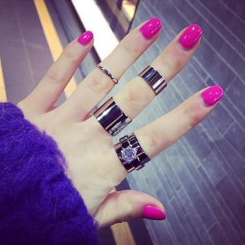 Mash Up Wide Band Midi Ring Set
