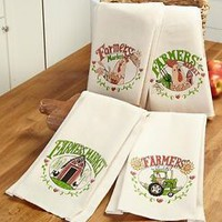 Set Of 4 Farmers' Market Kitchen Towels Country Farmhouse Theme Barn Tractor