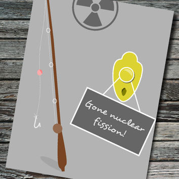 Gone Nuclear Fission Nerdy Retirement Science Card | Physics, Chemistry | Teacher Professor Scientist Physicist Chemist