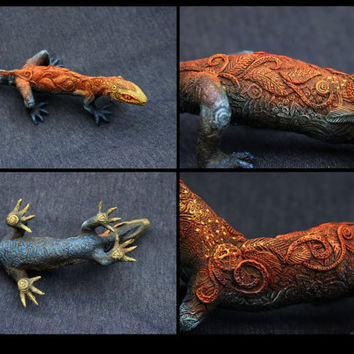 Large Lizard Gecko Animal Totem figurine fantasy animal creature art sculpture magic gif