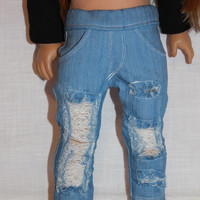 18 inch doll clothes, blue ripped denim skinny jeans, american girl ,maplelea