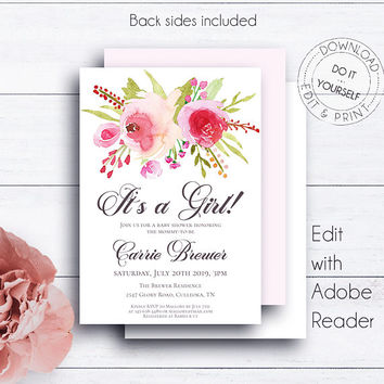 Floral Baby Shower Invitation, Printable Baby Shower, Watercolor Newborn Invitations, It's a Girl DIY Baby Shower, Editable Template