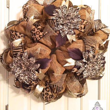 Burlap Animal Print Deco Mesh Wreath