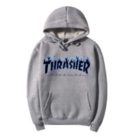 """Thrasher""Fashion Flame skateboard leisure loose hooded sweater Grey"