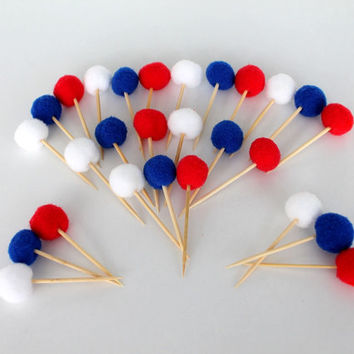 Pompom Cupcake Toppers, Patriotic Red White and Blue Star Cupcake Toppers