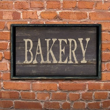 Wooden handmade Bakery sign framed in wood.  Approx. 12x19x2 inches.