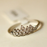 Stylish Shiny New Arrival Gift Jewelry Vintage Handcrafts Crystal Crown Korean Ring [6586165831]