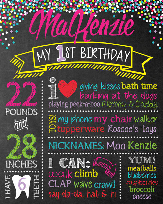 Chalkboard birthday sign chalk board from teal olive designs for First birthday board template