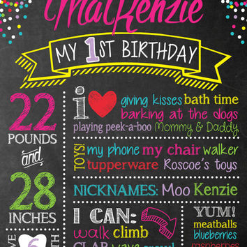 Chalkboard Birthday Sign - Chalk Board First Birthday Poster - Birthday Sign - Party Dots - Colorful - Digital Print