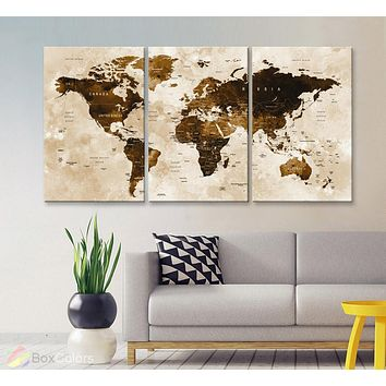"LARGE 30""x 60"" 3panels 30x20 Ea Art Canvas Print Watercolor Map World Push Pin Travel M1801"
