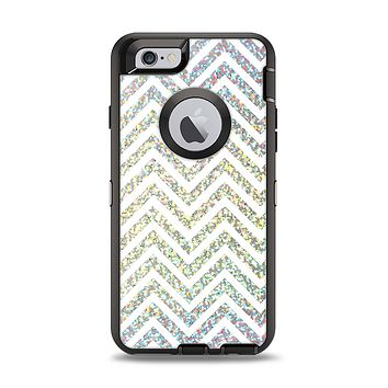 The White & Confetti Glitter Print Sharp Chevron Apple iPhone 6 Otterbox Defender Case Skin Set
