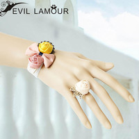 Gothic Art Vintage White Craft Embroidery Bracelet Rose Butterfly Tie Cuff with Rose Ring Birdcage Attach for Wedding Party WS-221