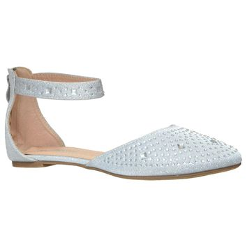 Womens Ballet Flats Rhinestone Pointed Toe Ankle Strap Flat Shoes Silver
