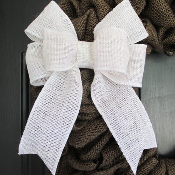 "8"" Colored Burlap Bow, DIY Wreath, Home Door Porch Decor, Wedding, Floral, Spring, Year Round, Holiday, Curtain Ties"