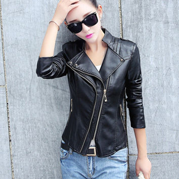 2017 new spring women leather jacket black plus size fashion design women PU jacket coat pink red motor jackets 3XL