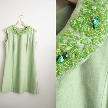 Mint Mod - Vintage 1960s Beaded Rhinestone Collar Raw Silk Sheen Dress