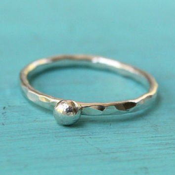 Sterling silver stacking ring stackable ring with a silver ball dot bubble granule hammered handmade bubble ring