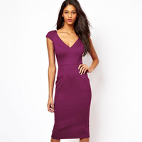 New Fashion Style Europe Style V-neck Sexy Slimming Women Bodycon Dress Wear to Work Business Party Pencil Wiggle Dresses E284