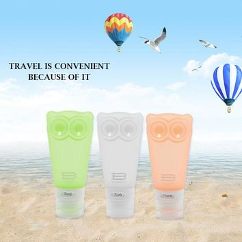 BAGSMART Travel Toiletry Containers Silicone Small Bottles 2.8 oz. / 83ml- Set of 3pcs (Owl Style) …