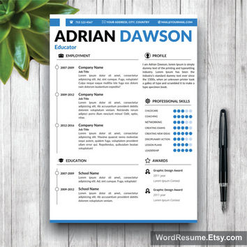 Resume Template / CV Template - The Adrian Dawson Resume Design - Instant Download - Word Document / Docx / Doc Format