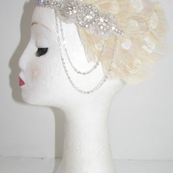 Cream Ivory Silver Chain Peacock Feather Headband 1920s Great Gatsby Flapper Y59