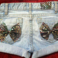 Low rise Marley Bow distressed shorts