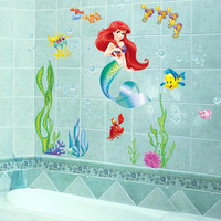 Ariel Fairy Wall Stickers for Kids Room Princess Decoration Decorative Bathroom Mermaid Girl Wall Decals Art Paper Anime Posters