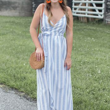Lily Stripe Dress, Blue