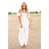 Get Your Groove On Off The Shoulder Jumpsuit (Off White)