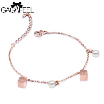 GAGAFEEL Imitation Pearl Bracelet Women Bangles Stainless Steel Love Jewelry Rose Gold Color Square Box Link Chain Bracelets